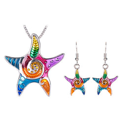 Multi-Color Starfish Pendant Necklace & Earrings Jewelry Set