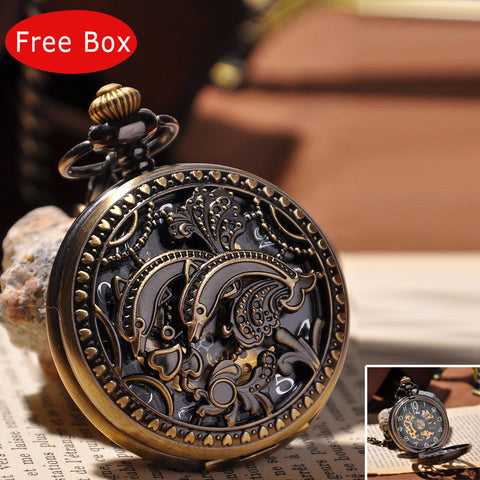 Unique Double Dolphin Carved Hand Wind Mechanical Pocket Watch