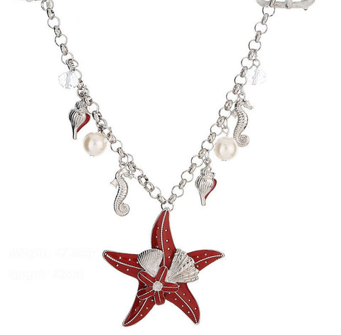Nautical Starfish, Ocean Conch and Seahorse Necklace