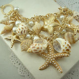 Trendy Natural Shell and Starfish Charm Bracelet