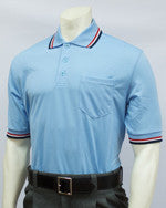 Smitty Short Sleeve Umpire Shirt, Powder Blue / RWB Trim
