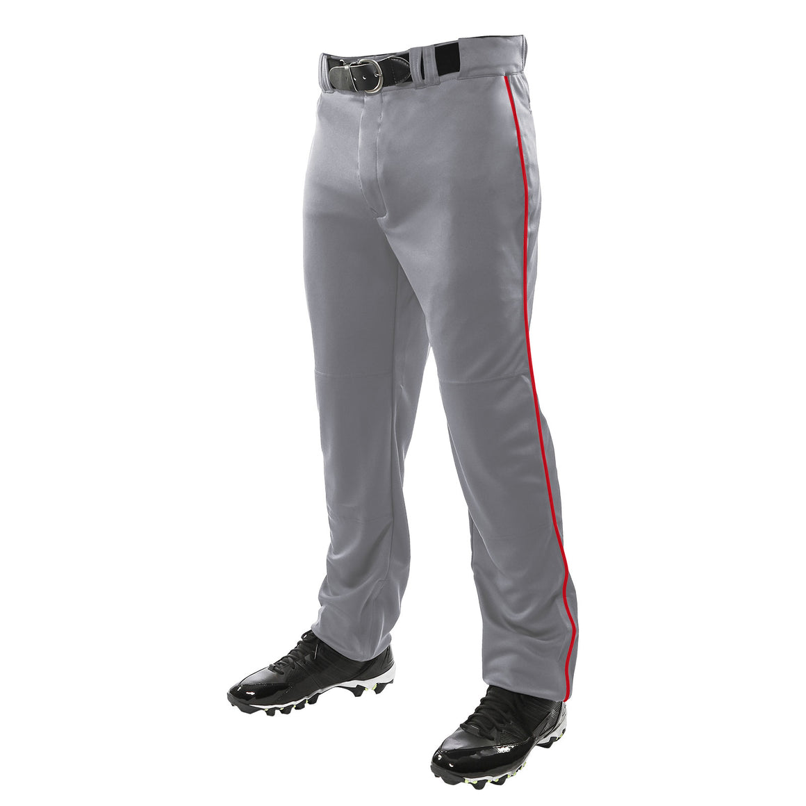 Champro Triple Crown Youth Piped Baseball Pant, Grey/Scarlet