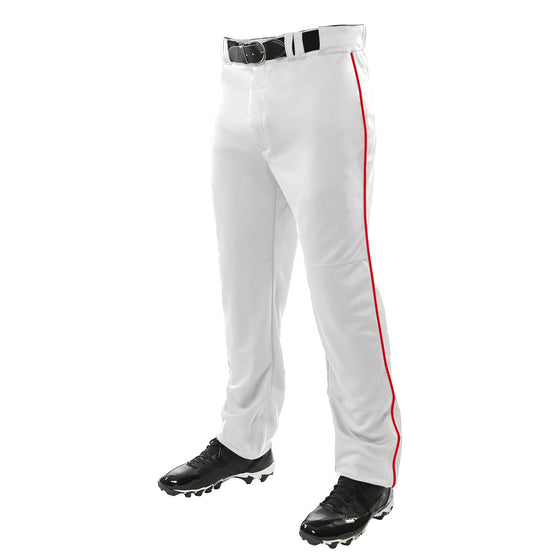 Champro Triple Crown Youth Piped Baseball Pant, White/Scarlet