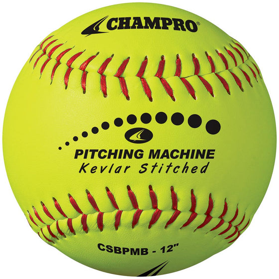 Champro Kevlar Stitched Pitching Machine Softball, 12in, Dozen