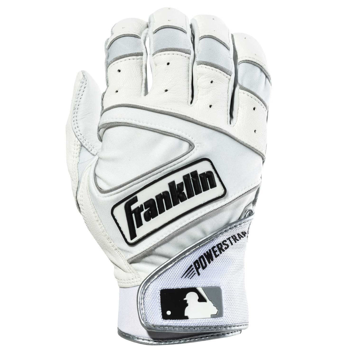 Franklin MLB Powerstrap Adult Batting Gloves, Pearl/White, Size Small