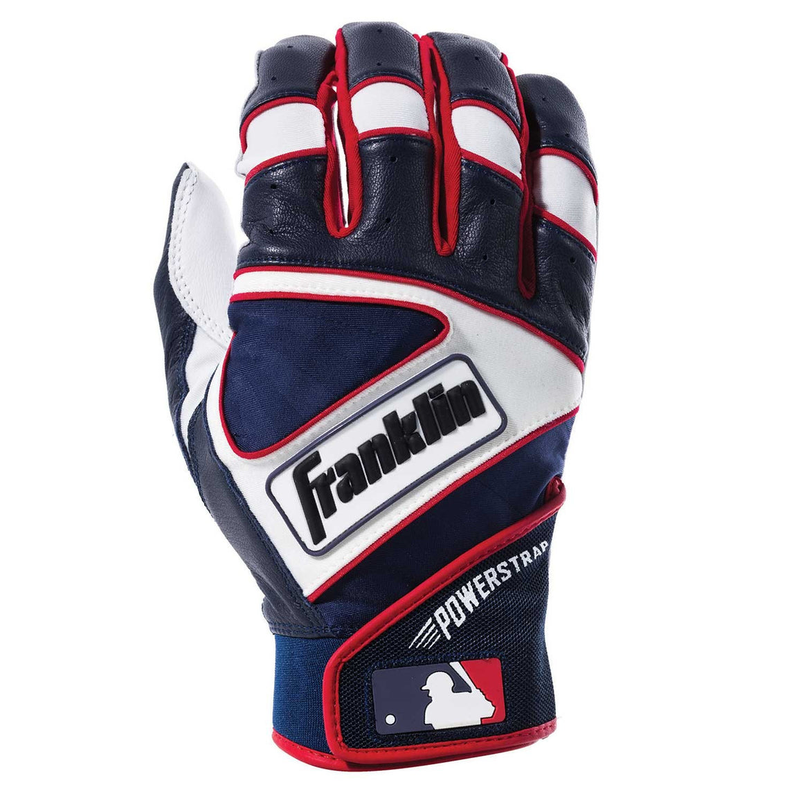 Franklin MLB Powerstrap Youth Batting Gloves, Pearl/Navy/Red, Size Medium