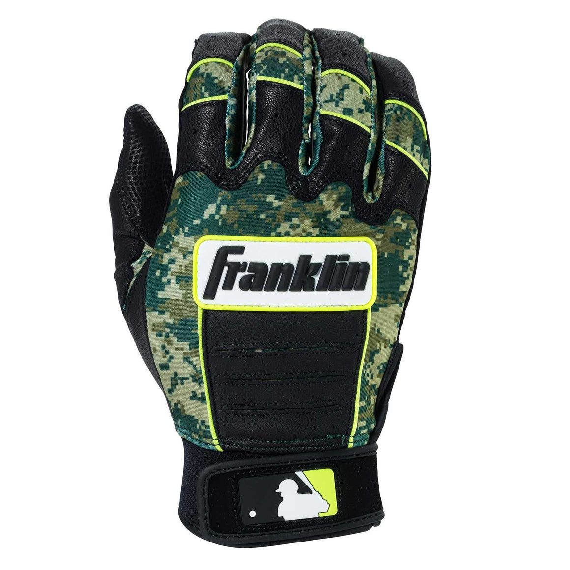Franklin MLB CFX Digi-Camo Adult Batting Gloves, Black/Green, Size Small