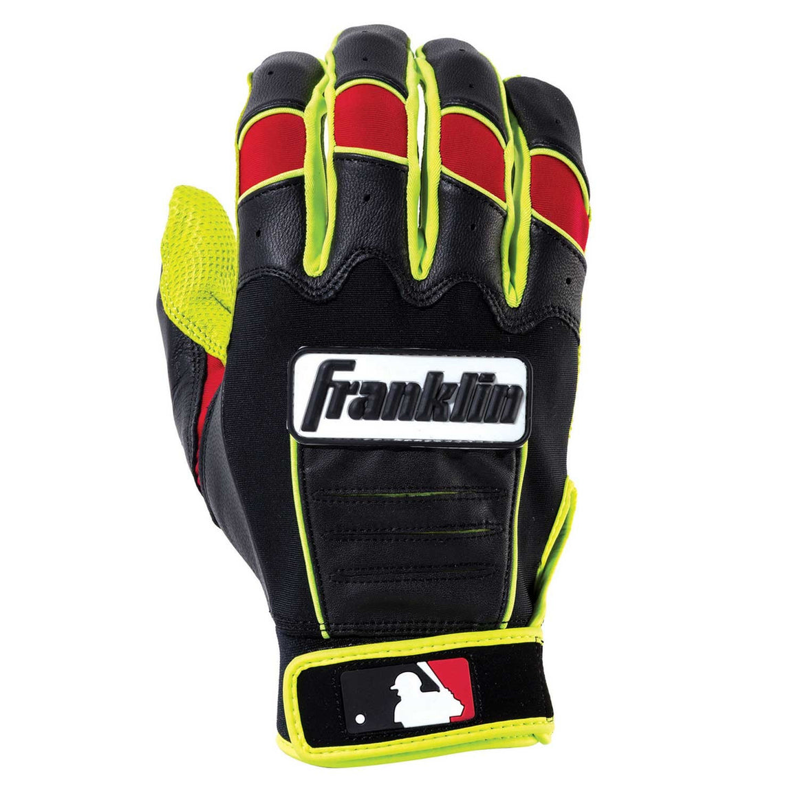 Franklin MLB CFX Pro Revolt Youth Batting Gloves, Optic Yellow/Black/Red, Size Medium