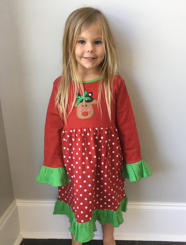 Girls Rudolph Polka Dot Dress - Red/Green
