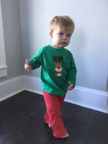 Boys Long Sleeve Rudolph Tee - Green