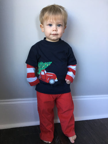 Boys Long Sleeve Truck and Christmas Tree Shirt