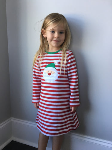 Girls Long Sleeve Striped Santa Dress