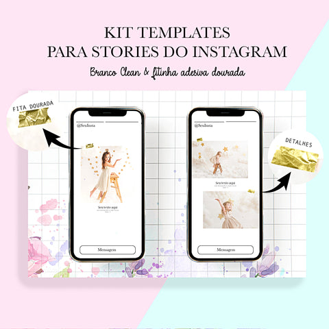 Template  - Insta Stories - Branco Clean & Fita Dourada