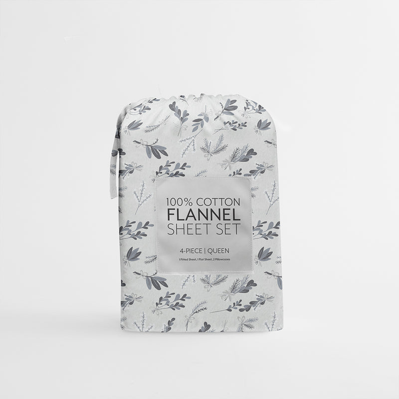 New Botanical 4-Piece Flannel Sheet Set