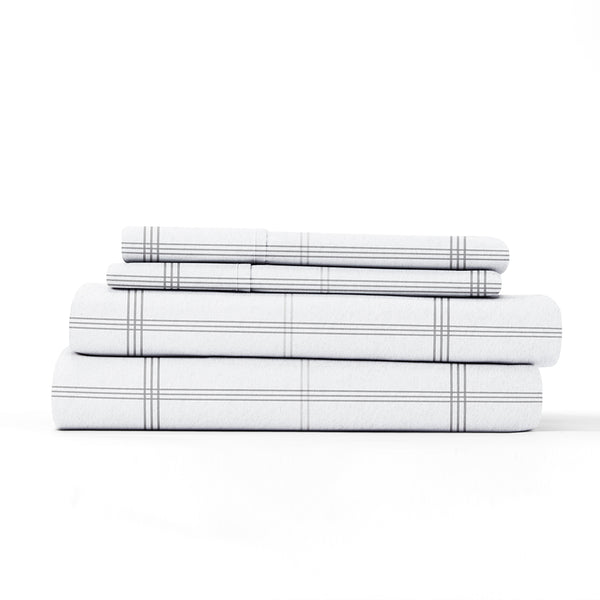 Gray, Checkered 4-Piece Flannel Sheet Set, ALT4 Image