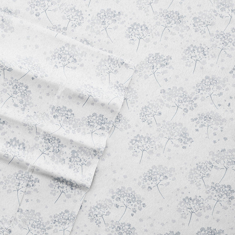 Light Blue, Flower Bunch 4-Piece Flannel Sheet Set, C3A Image