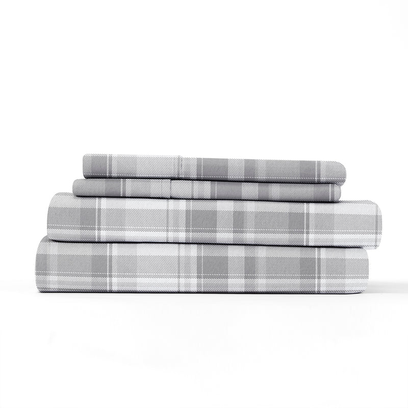 Light Gray, Plaid 4-Piece Flannel Sheet Set, ALT4 Image