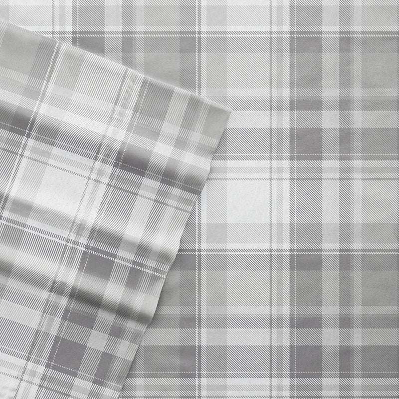 Light Gray, Plaid 4-Piece Flannel Sheet Set, C3A Image