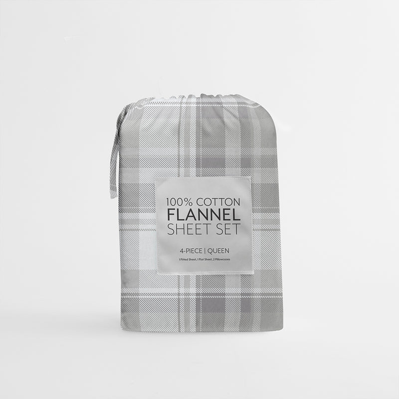 Light Gray, Plaid 4-Piece Flannel Sheet Set, C4 Image