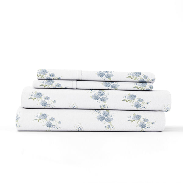 Light Blue, Rose Bunch 4-Piece Flannel Sheet Set, ALT4 Image