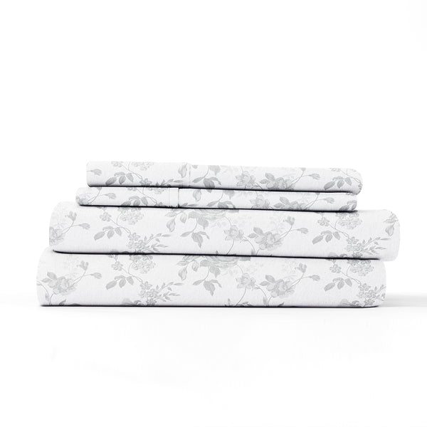 Gray, Sylvan Rose 4-Piece Flannel Sheet Set, ALT4 Image
