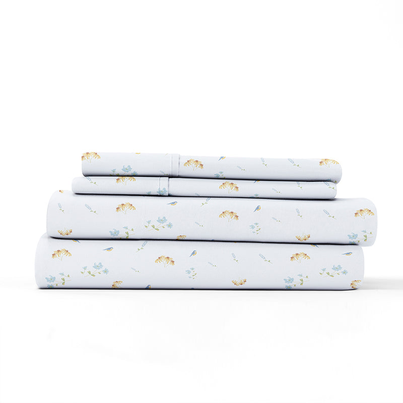 Light Blue, Bluebirds Pattern 4-Piece Sheet Set, ALT4 Image