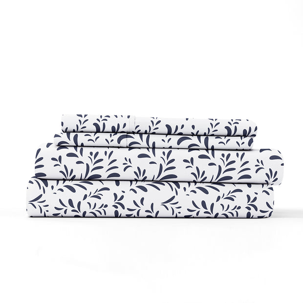 Burst of Vines Patterned 4-Piece Sheet Set