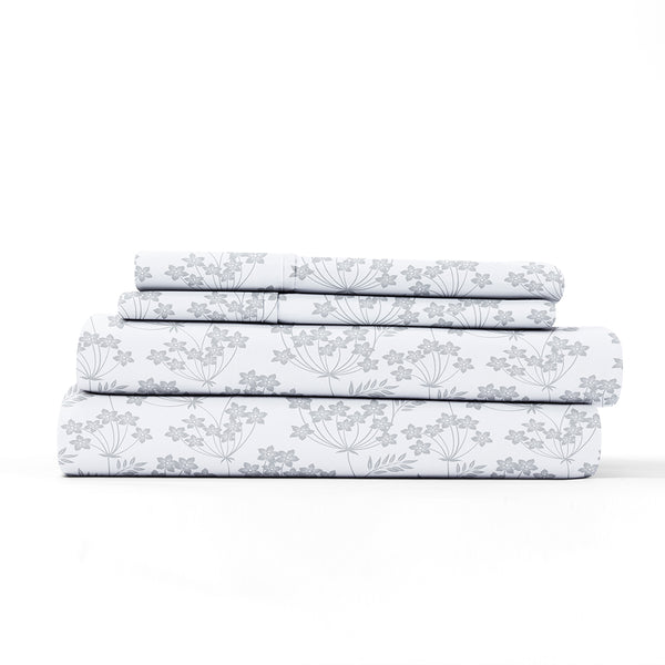 Light Gray, Chantilly Lace Style Pattern 4-Piece Sheet Set, ALT4 Image