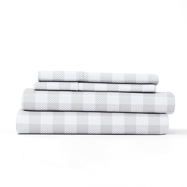 Light Gray, Country Plaid Pattern 4-Piece Sheet Set, ALT4 Image