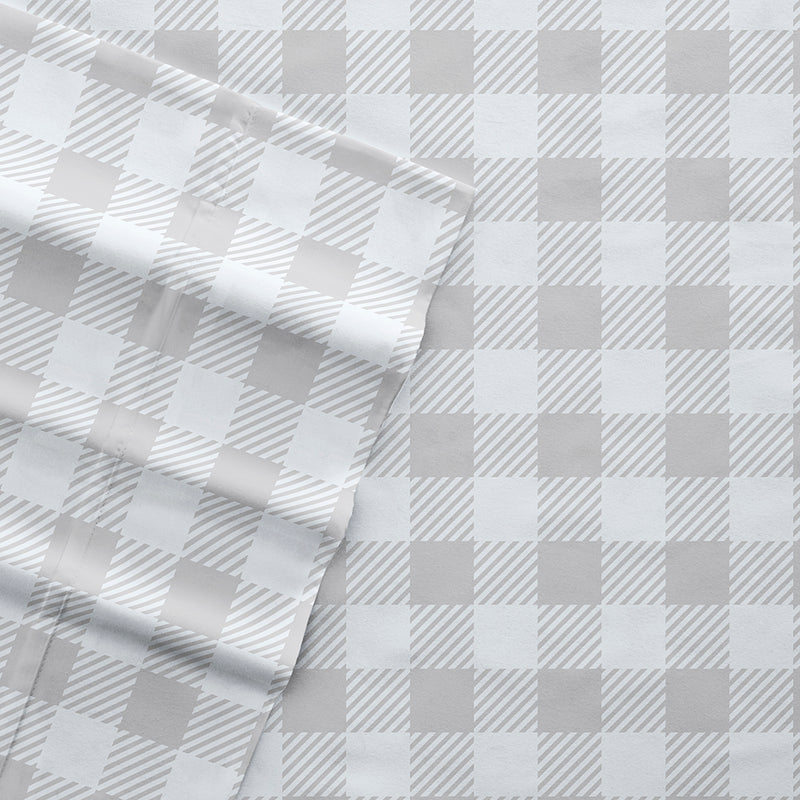 Light Gray, Country Plaid Pattern 4-Piece Sheet Set, C3A Image