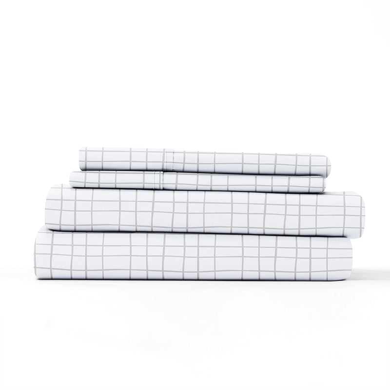 Light Gray, Crossroad Pattern 4-Piece Sheet Set, ALT4 Image