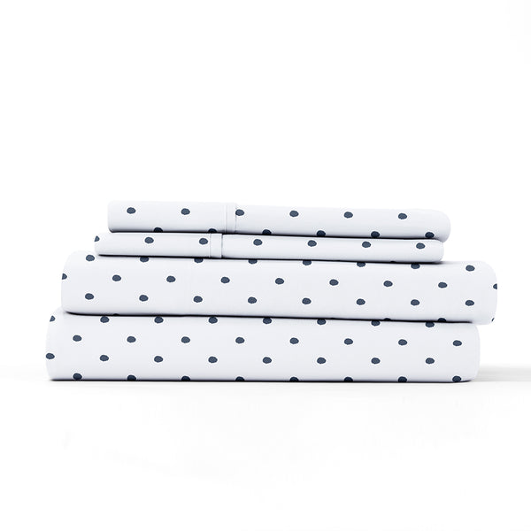 Navy, Dots Pattern 4-Piece Sheet Set, ALT4 Image