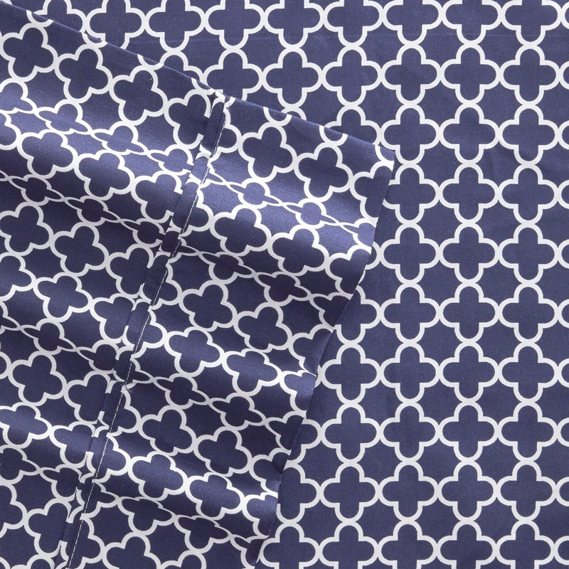 Navy, Quatrefoil Pattern 4-Piece Sheet Set, C3A Image
