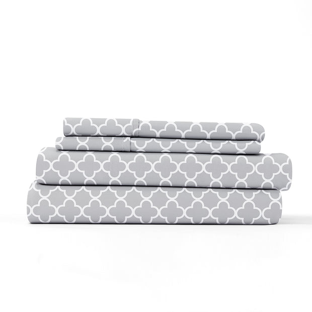 Quatrefoil Patterned 4-Piece Sheet Set