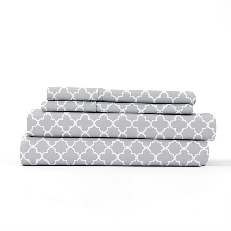 Gray, Quatrefoil Pattern 4-Piece Sheet Set, ALT4 Image