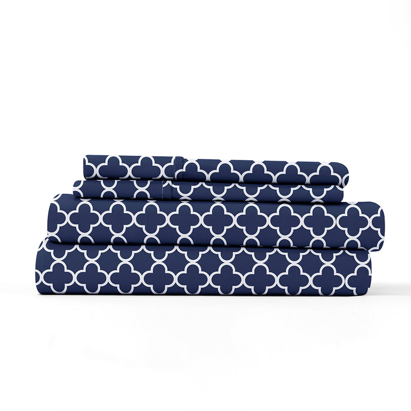Navy, Quatrefoil Pattern 4-Piece Sheet Set, ALT4 Image