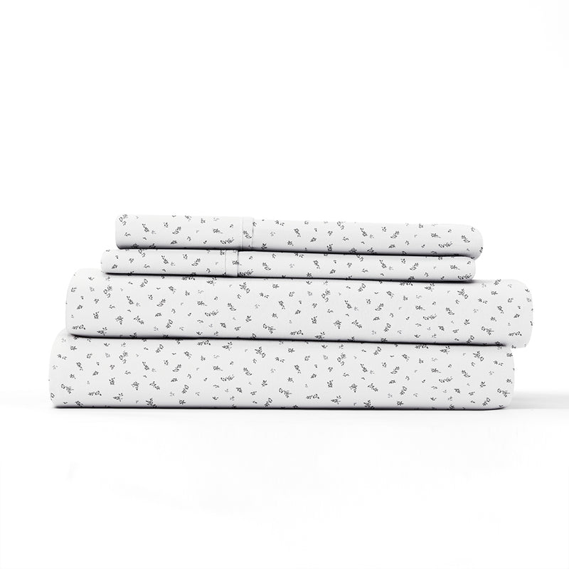 Light Gray, Spotted Leaves Pattern 4-Piece Sheet Set, ALT4 Image