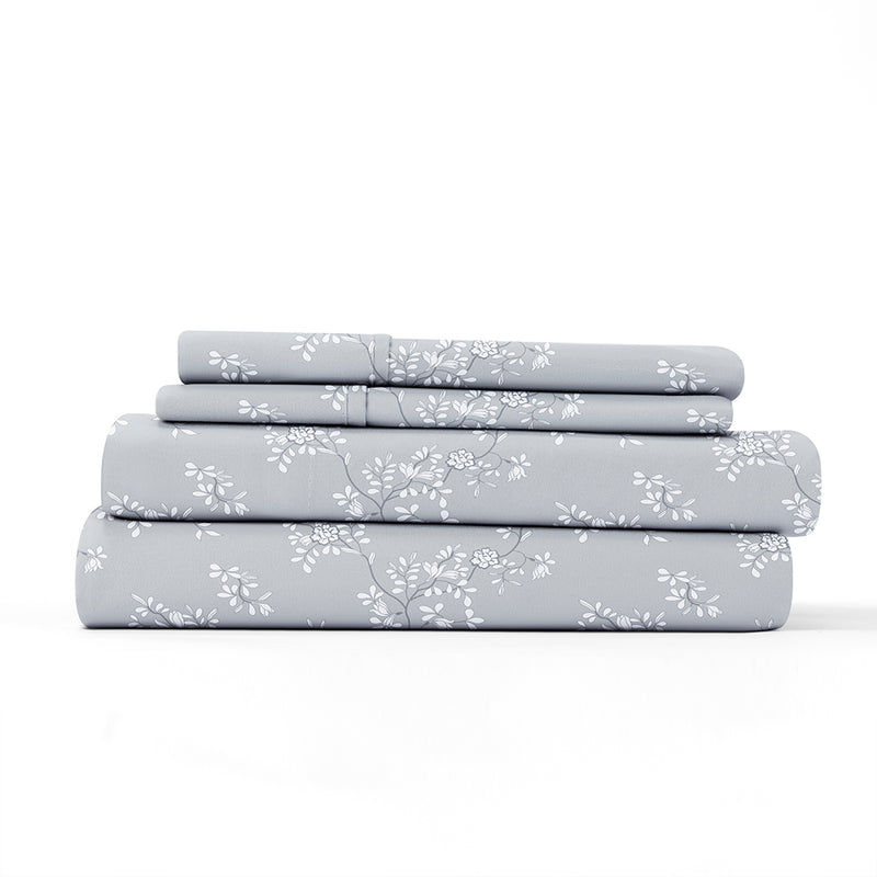 Light Gray, Trellis Vine Pattern 4-Piece Sheet Set, ALT4 Image