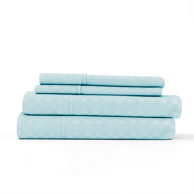 Aqua, Premium Ultra Soft Checkered Embossed 4-Piece Sheet Set, ALT4 Image