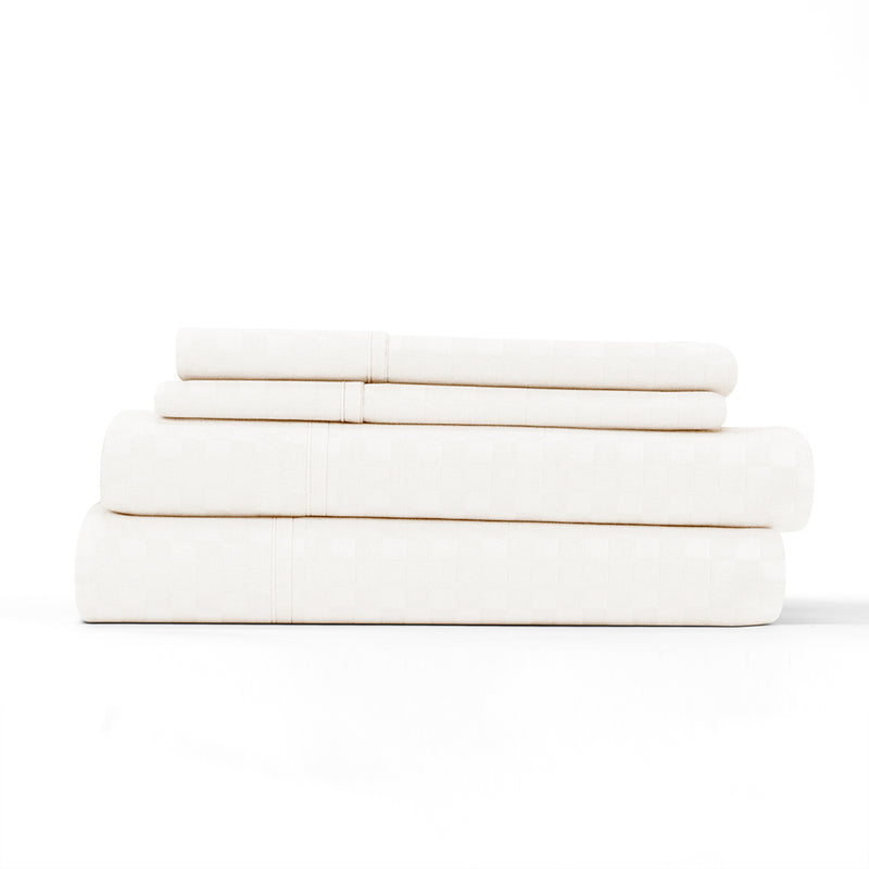 Cream, Premium Ultra Soft Checkered Embossed 4-Piece Sheet Set, ALT4 Image