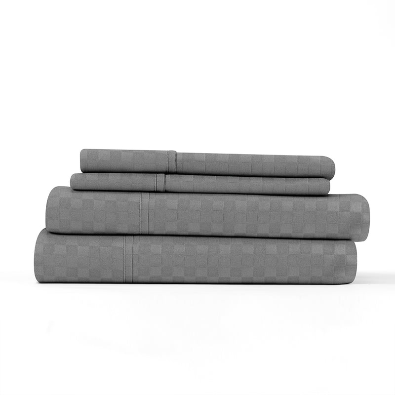 Gray, Premium Ultra Soft Checkered Embossed 4-Piece Sheet Set, ALT4 Image