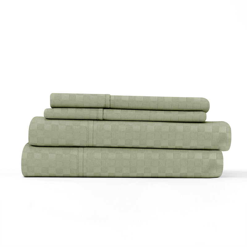 Sage, Premium Ultra Soft Checkered Embossed 4-Piece Sheet Set, ALT4 Image