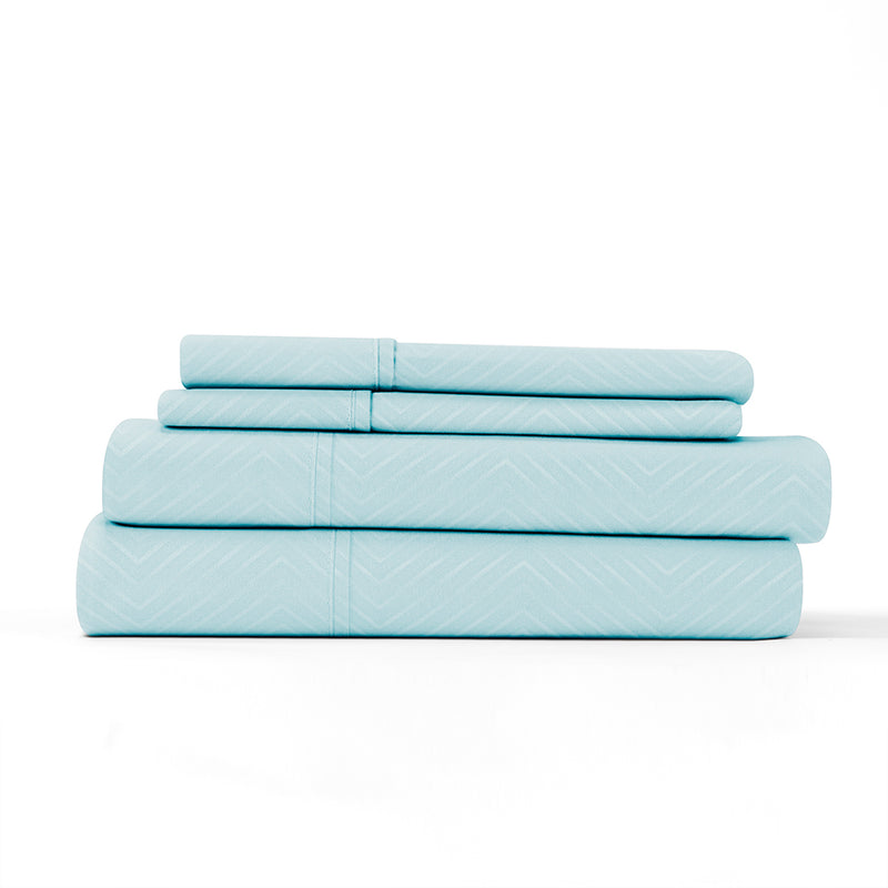 Aqua, Premium Ultra Soft Chevron Embossed 4-Piece Sheet Set, ALT4 Image