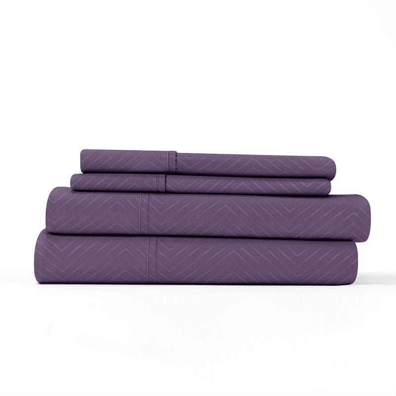 Purple, Premium Ultra Soft Chevron Embossed 4-Piece Sheet Set, ALT4 Image