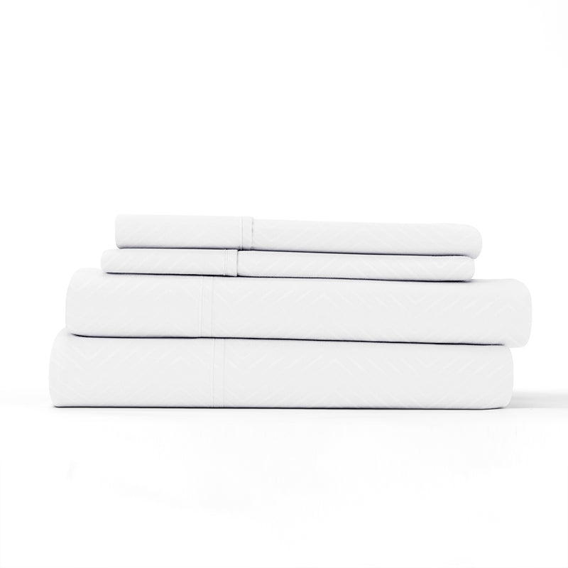 White, Premium Ultra Soft Chevron Embossed 4-Piece Sheet Set, ALT4 Image
