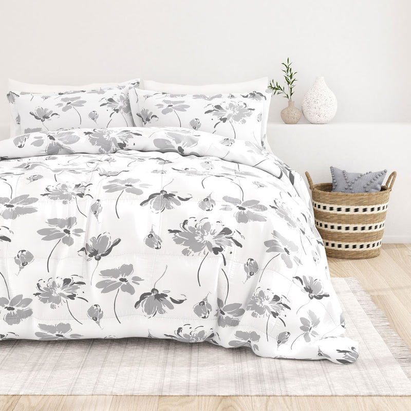 New Magnolia Grey Patterned Down-Alternative Comforter Set