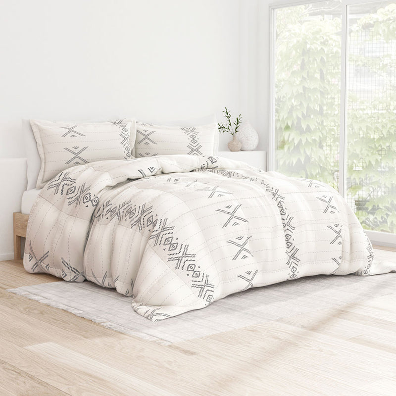 Gray, Urban Stitch Patterned Down-Alternative Comforter Set, C1 Image