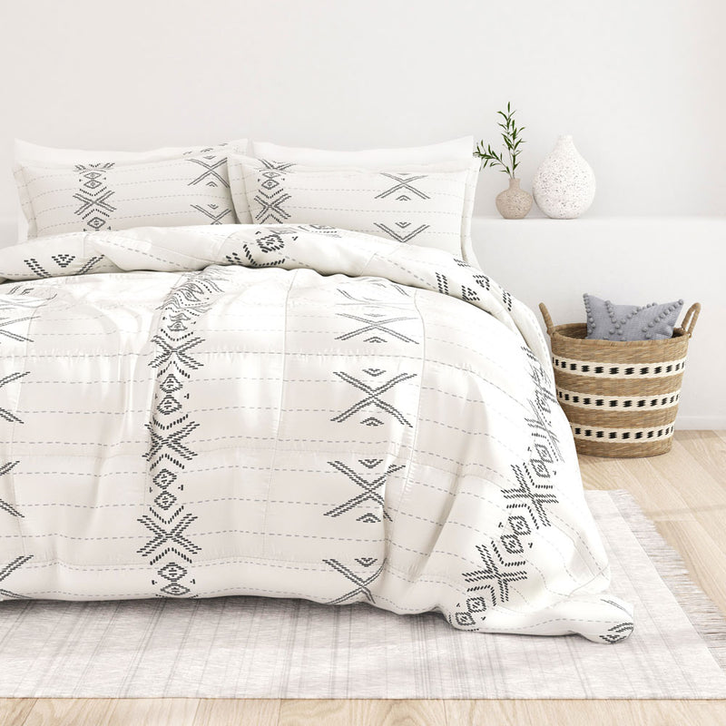 Gray, Urban Stitch Patterned Down-Alternative Comforter Set, C2 Image