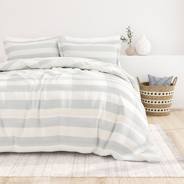 Light Blue, Distressed Stripe Reversible Down-Alternative Comforter Set, C2 Image
