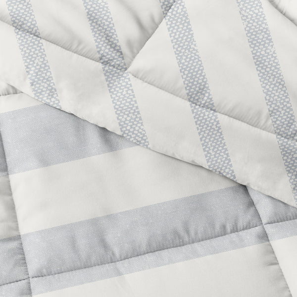 Light Blue, Distressed Stripe Reversible Down-Alternative Comforter Set, C3A Image
